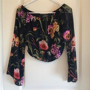 ASTR Off Shoulder Floral Crop w/ Long Sleeves